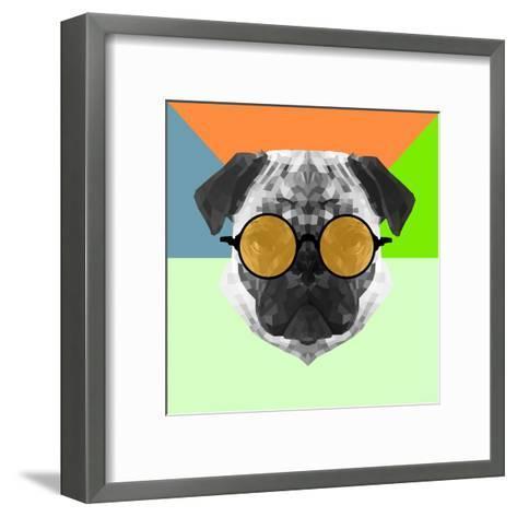 Party Pug in Yellow Glasses-Lisa Kroll-Framed Art Print