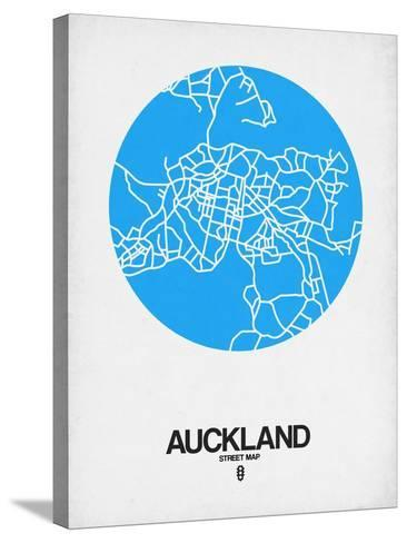 Auckland Street Map Blue-NaxArt-Stretched Canvas Print