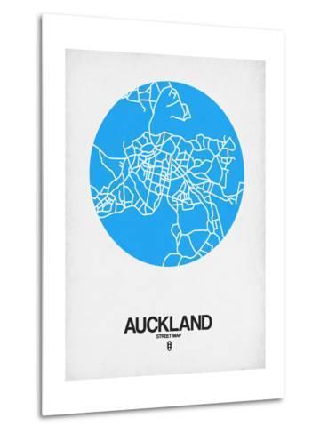 Auckland Street Map Blue-NaxArt-Metal Print