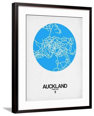 Auckland Street Map Blue-NaxArt-Framed Art Print