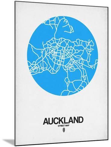 Auckland Street Map Blue-NaxArt-Mounted Art Print