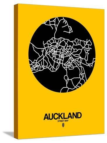 Auckland Street Map Yellow-NaxArt-Stretched Canvas Print