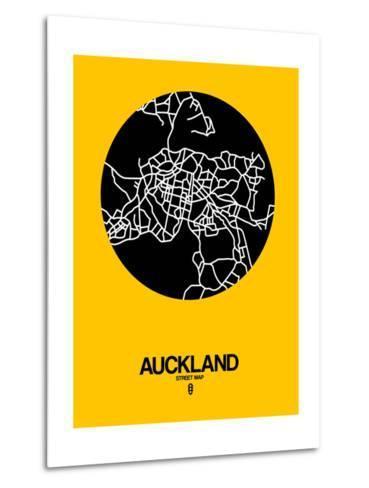 Auckland Street Map Yellow-NaxArt-Metal Print