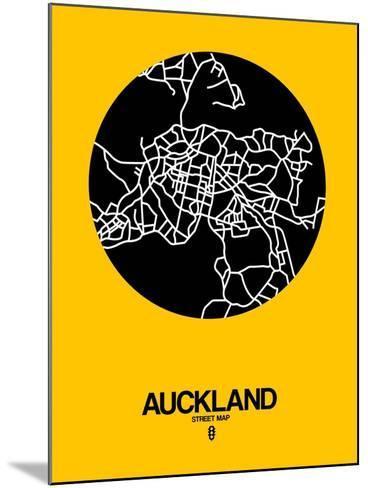Auckland Street Map Yellow-NaxArt-Mounted Art Print
