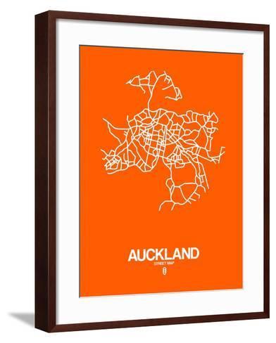 Auckland Street Map Orange-NaxArt-Framed Art Print