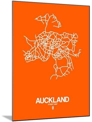 Auckland Street Map Orange-NaxArt-Mounted Art Print