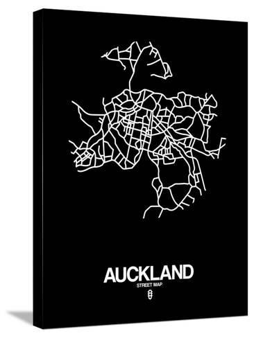 Auckland Street Map Black-NaxArt-Stretched Canvas Print