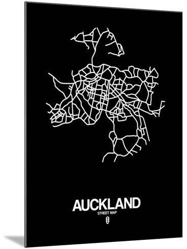 Auckland Street Map Black-NaxArt-Mounted Art Print