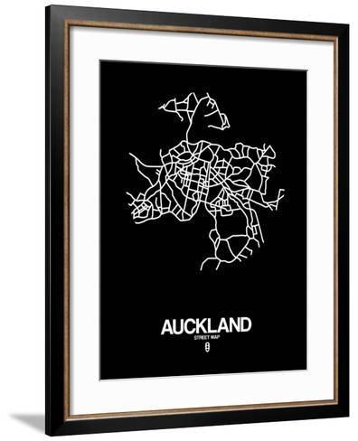 Auckland Street Map Black-NaxArt-Framed Art Print