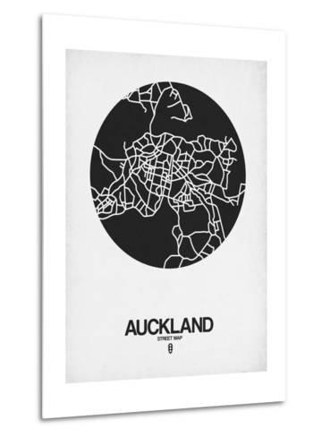 Auckland Street Map Black on White-NaxArt-Metal Print