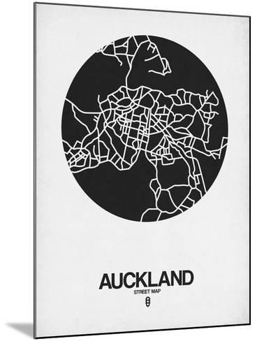 Auckland Street Map Black on White-NaxArt-Mounted Art Print