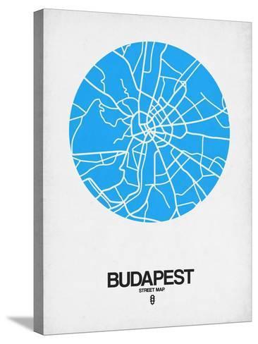 Budapest Street Map Blue-NaxArt-Stretched Canvas Print