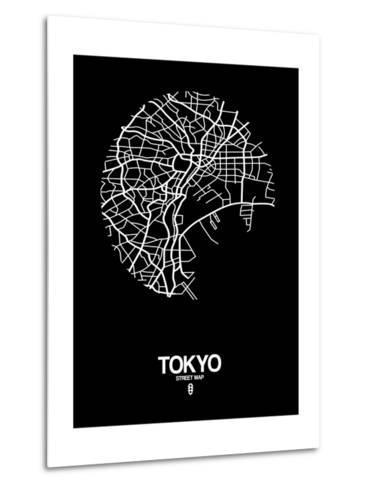 Tokyo Street Map Black-NaxArt-Metal Print