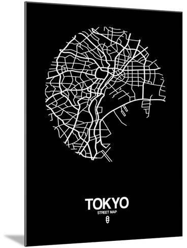 Tokyo Street Map Black-NaxArt-Mounted Art Print