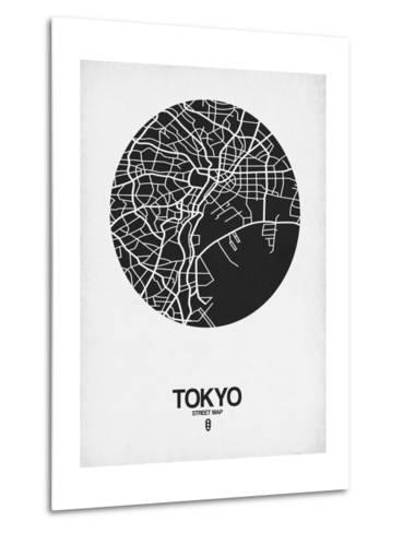 Tokyo Street Map Black on White-NaxArt-Metal Print