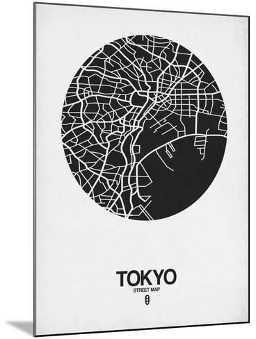 Tokyo Street Map Black on White-NaxArt-Mounted Art Print