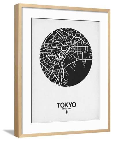 Tokyo Street Map Black on White-NaxArt-Framed Art Print