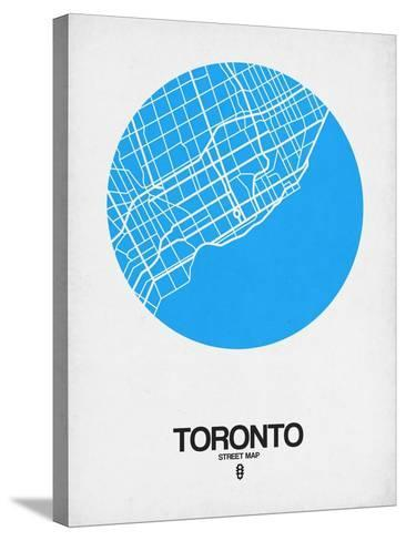 Toronto Street Map Blue-NaxArt-Stretched Canvas Print