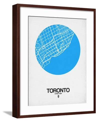 Toronto Street Map Blue-NaxArt-Framed Art Print