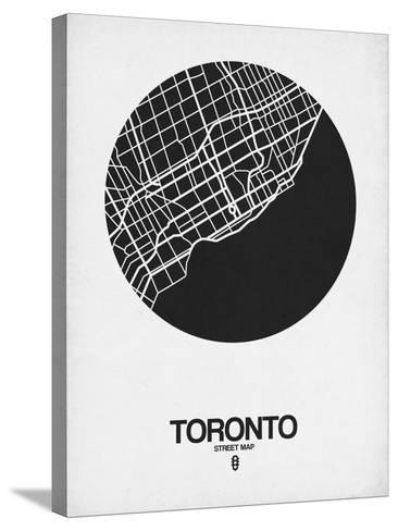 Toronto Street Map Black on White-NaxArt-Stretched Canvas Print