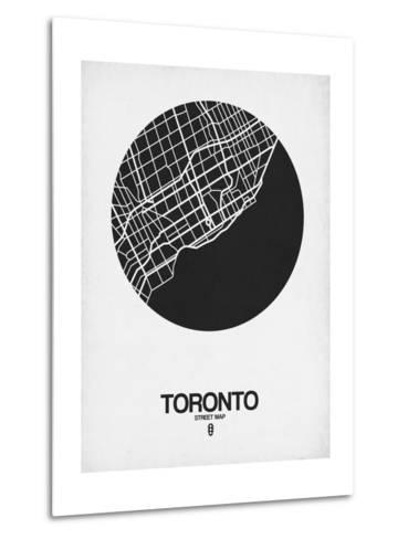 Toronto Street Map Black on White-NaxArt-Metal Print