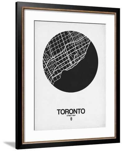 Toronto Street Map Black on White-NaxArt-Framed Art Print