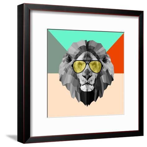 Party Lion in Glasses-Lisa Kroll-Framed Art Print