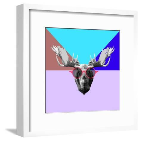 Party Moose in Glasses-Lisa Kroll-Framed Art Print