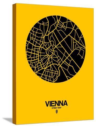 Vienna Street Map Yellow-NaxArt-Stretched Canvas Print