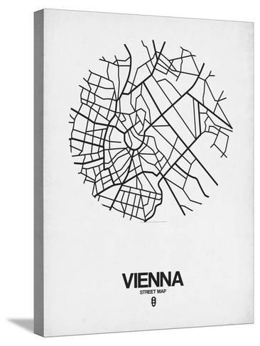 Vienna Street Map White-NaxArt-Stretched Canvas Print