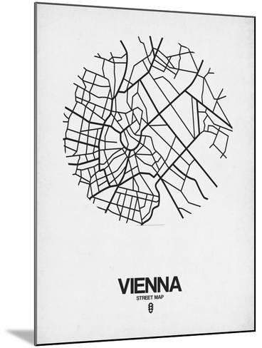 Vienna Street Map White-NaxArt-Mounted Art Print