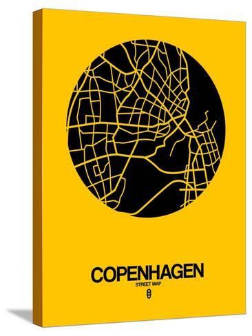 Copenhagen Street Map Yellow-NaxArt-Stretched Canvas Print
