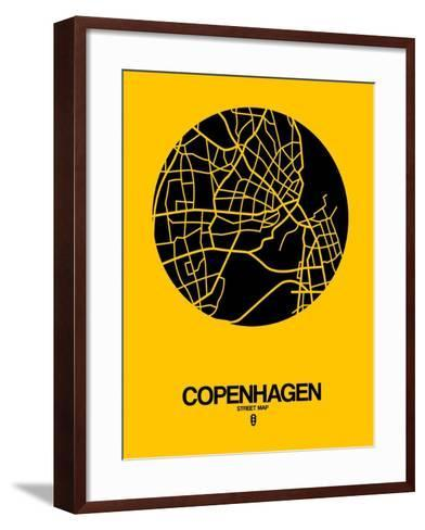 Copenhagen Street Map Yellow-NaxArt-Framed Art Print