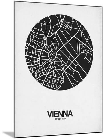 Vienna Street Map Black on White-NaxArt-Mounted Art Print