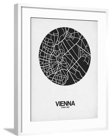 Vienna Street Map Black on White-NaxArt-Framed Art Print