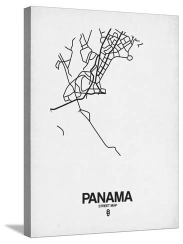 Panama Street Map White-NaxArt-Stretched Canvas Print