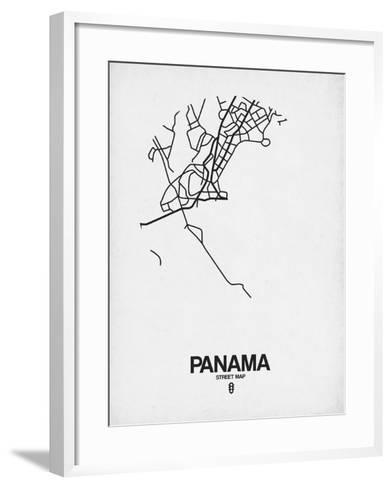 Panama Street Map White-NaxArt-Framed Art Print