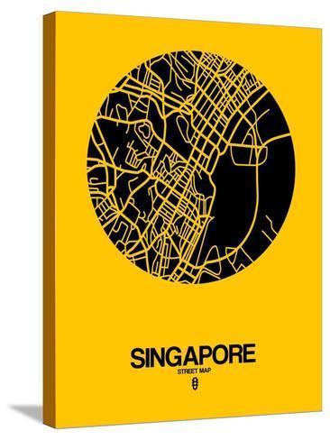 Singapore Street Map Yellow-NaxArt-Stretched Canvas Print