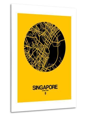 Singapore Street Map Yellow-NaxArt-Metal Print