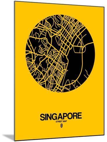 Singapore Street Map Yellow-NaxArt-Mounted Art Print