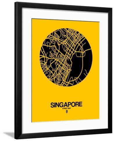 Singapore Street Map Yellow-NaxArt-Framed Art Print