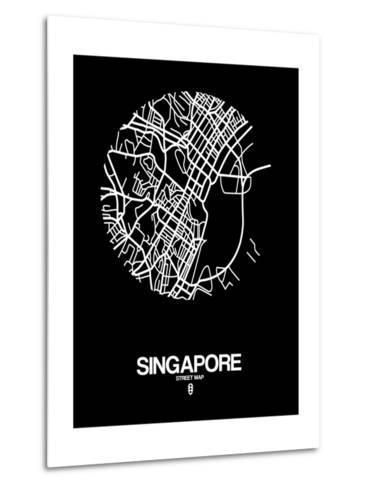 Singapore Street Map Black-NaxArt-Metal Print