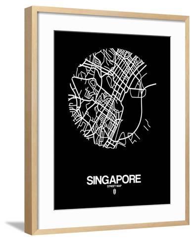 Singapore Street Map Black-NaxArt-Framed Art Print