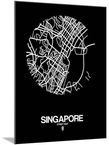 Singapore Street Map Black-NaxArt-Mounted Art Print