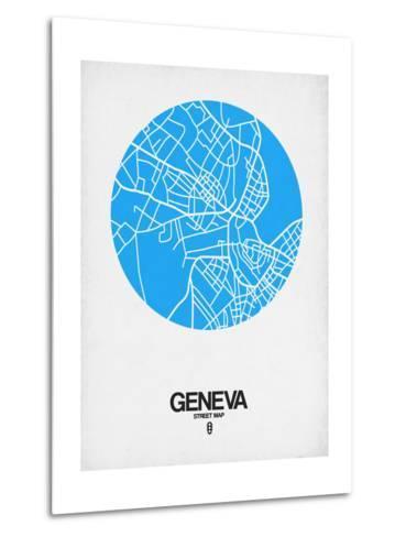Geneva Street Map Blue-NaxArt-Metal Print