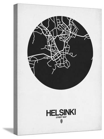 Helsinki Street Map Black on White-NaxArt-Stretched Canvas Print
