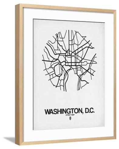 Washington, D.C. Street Map White-NaxArt-Framed Art Print