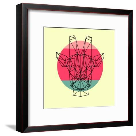 Giraffe and Sunset-Lisa Kroll-Framed Art Print
