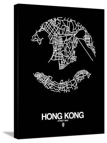 Hong Kong Street Map Black-NaxArt-Stretched Canvas Print