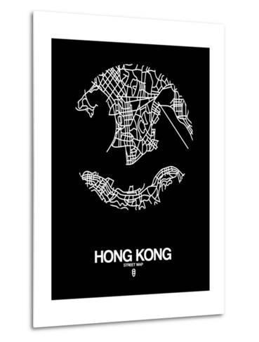 Hong Kong Street Map Black-NaxArt-Metal Print